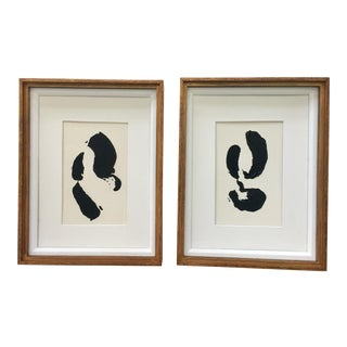Black and White Abstract Paintings, Pair For Sale