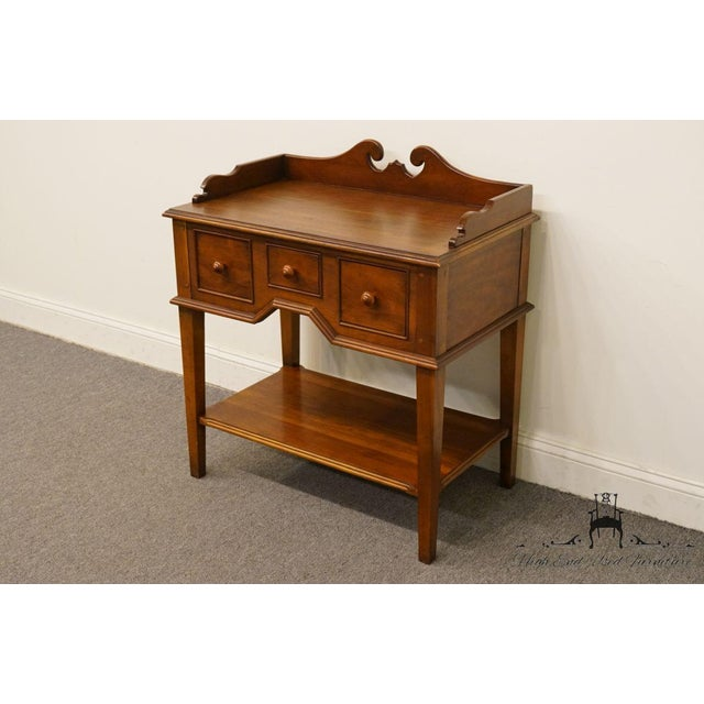 "Hickory Chair Furniture Company Hickory Chair Solid Cherry Wood 29"" Accent Table / Nightstand For Sale - Image 4 of 13"