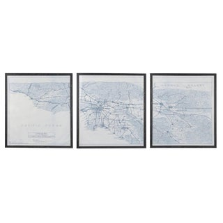 Blueprint of Aaa Map of Los Angeles in 1916, Framed Triptych For Sale