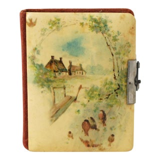 Antique Victorian Photo Album With Die Cut Calling Cards For Sale