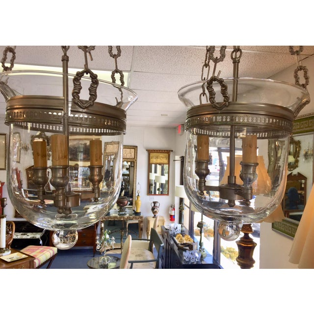 Nickel Cloche Pendant Lights - a Pair For Sale - Image 4 of 6