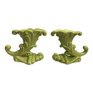 Decorative Ceramic Chartreuse Candlesticks - A Pair For Sale