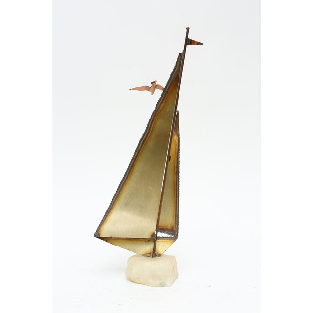 Brutalist Brass Sailboat by Mario Jason For Sale - Image 5 of 6