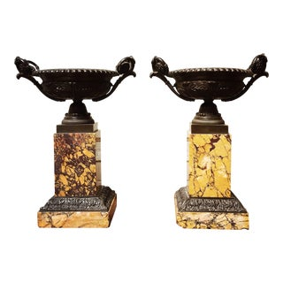 Sienna Marble and Bronze Tazzas - a Pair For Sale