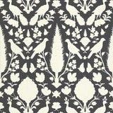 Image of Schumacher Chenonceau Damask Wallpaper in Charcoal - 2-Roll Set (9 Yards) For Sale
