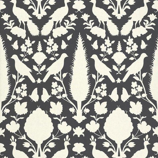 Schumacher Chenonceau Damask Wallpaper in Charcoal - 2-Roll Set (9 Yards) For Sale