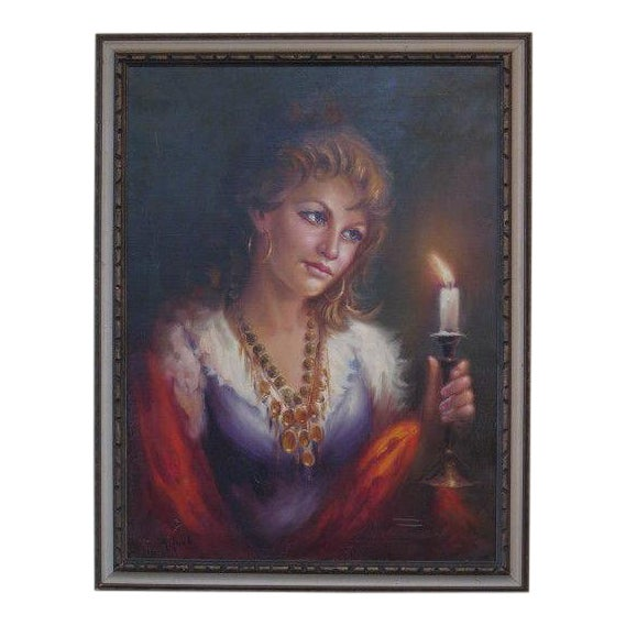 1960s Vintage Italian Portrait of Woman Framed Oil on Canvas Painting For Sale