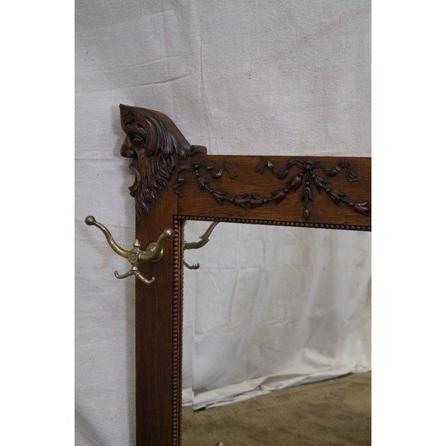 Antique Victorian Oak Carved Hall Mirror - Image 7 of 10