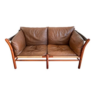 Mid-Century Modern Arne Norell Ilona Leather Safari Sofa For Sale