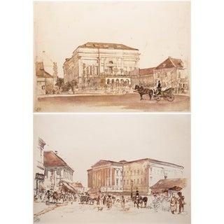 1959 Neoclassical Rudolph Von Alt Lithographs - a Pair For Sale