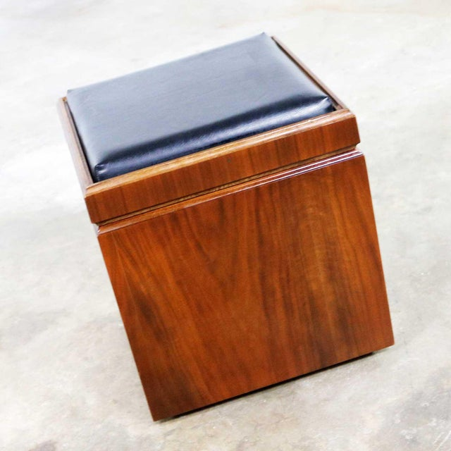Awesome mid-century modern Lane rolling cube storage ottoman with an upholstered flip top that becomes a checkerboard game...