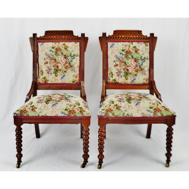 Traditional Victorian Eastlake Side Chairs - a Pair For Sale - Image 3 of 13