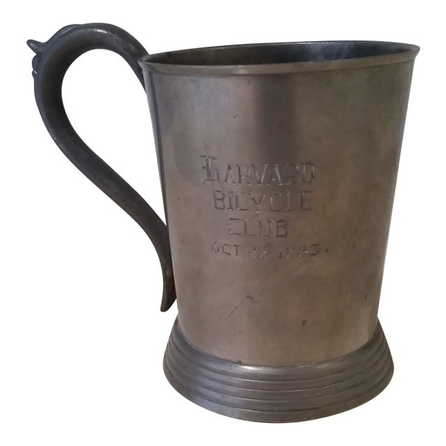 Harvard 1883 Bicycle Club Horses & Hounds Pewter Tankard/Mug For Sale
