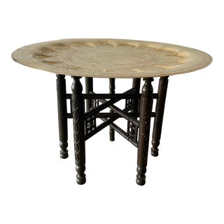 Vintage Moroccan Brass Finished Tea Table For Sale