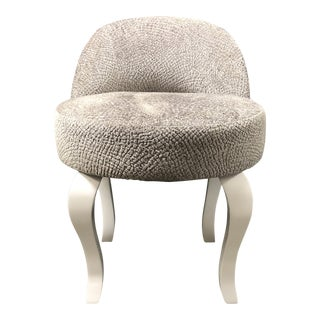 """Nathan Anthony """"Minx5"""" Silver Chenille Upholstered Vanity Stool For Sale"""