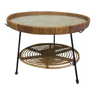 Rattan and Wicker Iron Base Tray & Table