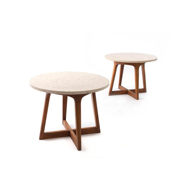 1960s Danish Modern Marble and Walnut End Tables - a Pair For Sale - Image 9 of 9