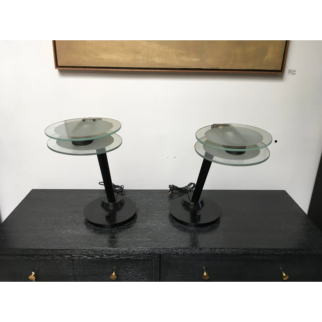 Relco Milan Post Modern Halogen Table Lamps. Fantastic pair (how rare is that!) of glass and black painted metal post-...