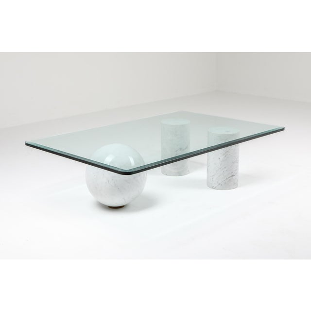 1970s Italian White Marble Coffee Table by Massimo Vignelli For Sale - Image 5 of 8
