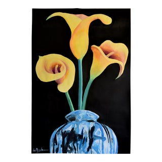 """""""Three Lilies in a Vase"""" Acrylic on Paper Painting"""
