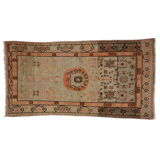1940s Vintage Chinese Suiyuan Xinjiang Design Khotan Rug - 4′1″ × 7′11″ For Sale