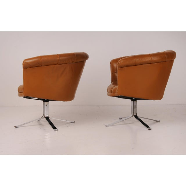 Camel Tufted Swivel Chairs in Carmel Leather by Nicos Zographos - A Pair For Sale - Image 8 of 12