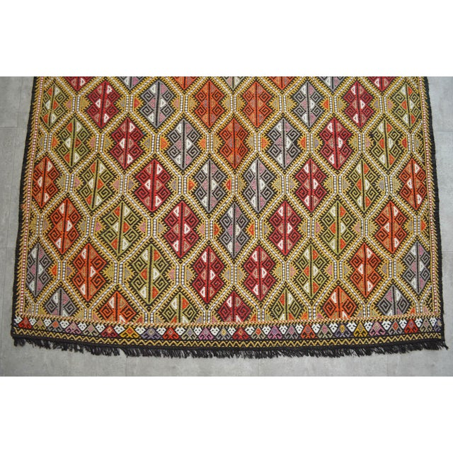 Textile Vintage Turkish Kilim Rug Hand Woven Braided Jajim Rug - 66″ X 116″ For Sale - Image 7 of 10