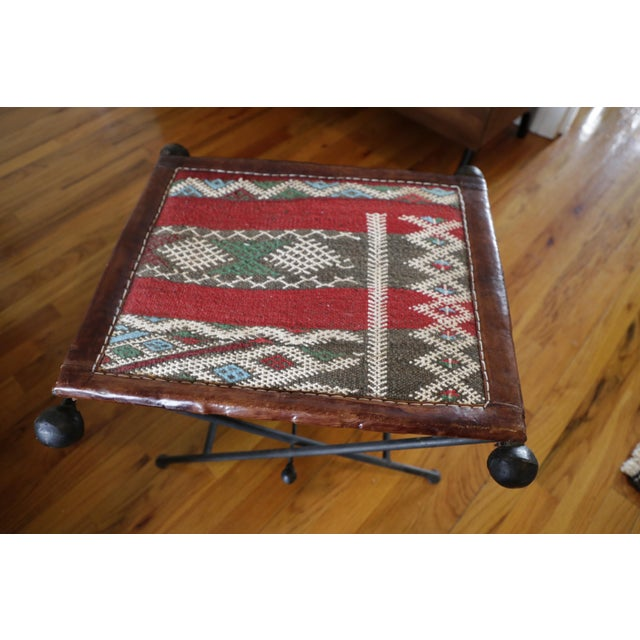 Funky Moroccan Seat/Chair Leather, Iron and Kilim For Sale In New York - Image 6 of 8