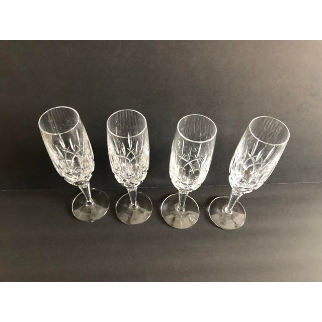 2010s Gorham Modern Crystal Fluted Champagne Glasses S-4 For Sale - Image 5 of 8