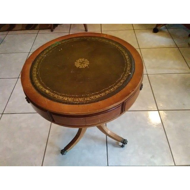 """Vintage Mahogany 20"""" Leather Top Round Drum Side Table And"""
