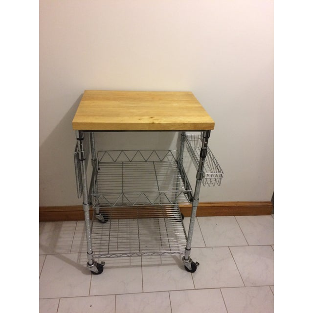 Kitchen Cart With Wood Butcher Block Top For Sale - Image 4 of 13