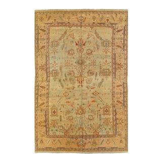 Pasargad Light Green Fine Hand Knotted Agra Rug- 11′8″ × 18′2″ For Sale