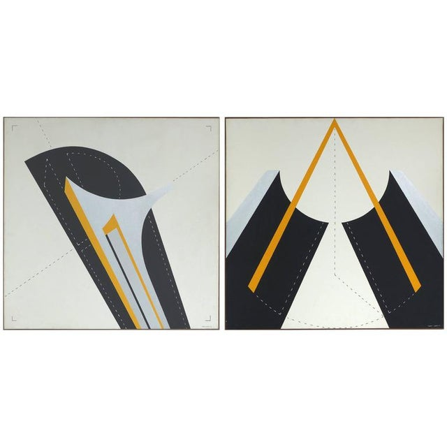 Italian 1970s Metaphysical Oils by Sauro Lessio - A Pair For Sale - Image 11 of 11