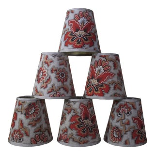 Antique Red Floral Fabric Chandelier Shades - Set of 6 For Sale