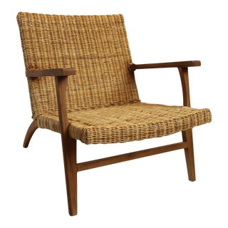 Modern Natural Fiber Easy Chair For Sale
