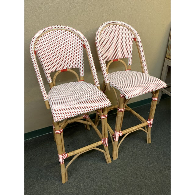 French Serena & Lily Riviera Red + White Barstools, a Pair For Sale - Image 3 of 11