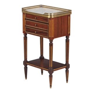 1920s Louis XVI Style Marble Top Bedside Cabinet For Sale