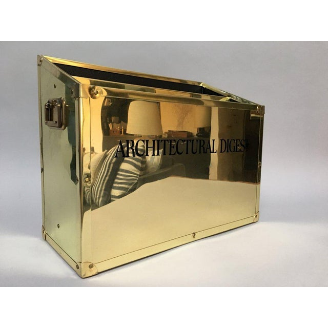 Campaign Vintage Architectural Digest Brass Campaign Trunk Style Magazine  Holder For Sale - Image 3 of