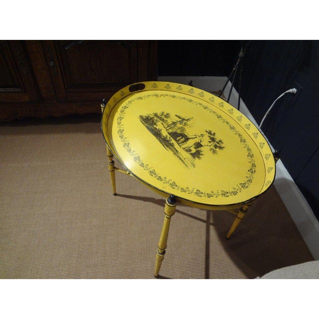 Italian 1940's Italian Neoclassical Tole Tray Table For Sale - Image 3 of 8