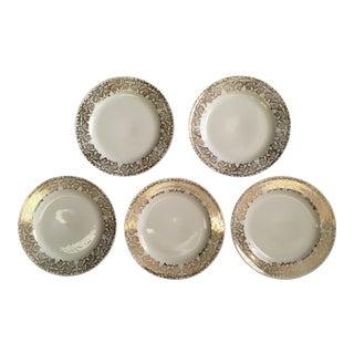 Gold Patterned Rim Plates - Set of 5 For Sale