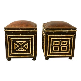 Pair of Inlaid Morroccan Ottomans w/Storage