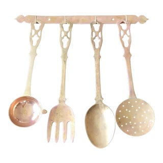Large Brass Hanging Utensils - Set of 4