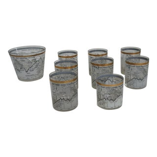 Vintage used gold glasses chairish 1958 1968 vintage cera dow jones industrial bar glasses and ice bucket 9 pieces gumiabroncs Gallery