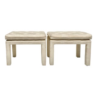 Vintage Late 20th Century Milo Baughman Style Parsons Cream Upholstered Benches - a Pair For Sale