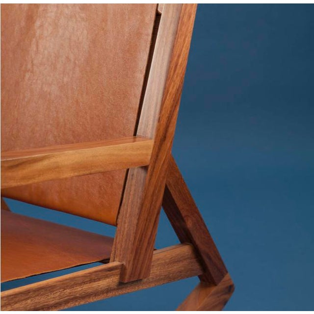 Ebb and Flow Modern Rocking Chair in Parota Solid Wood and Tan Genuine Leather For Sale - Image 4 of 5