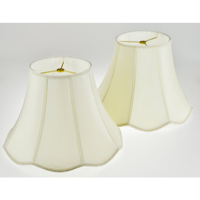 Traditional Vintage Bell Shape Scalloped Edge Fabric Lamp Shades - a Pair For Sale - Image 3 of 10