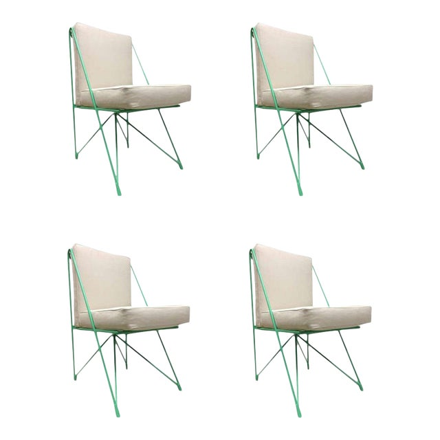 Raoul Guys Rare Set of Four Aqua Metal Chairs, Newly Recovered in Canvas Cloth For Sale