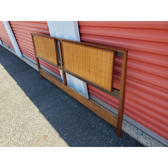 Brown Mid-Century Modern Walnut and Cane King Headboard Designed by Kipp Stewart for Calvin For Sale - Image 8 of 9