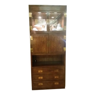 Henredon Scene I Campaign Style Bar Cabinet For Sale
