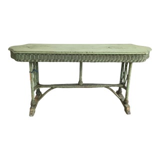 Vintage Boho Chic Green Wicker Console Table For Sale